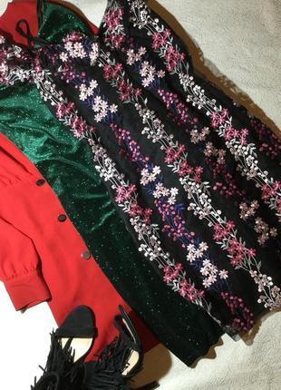 Платье с вышивкой на сетке на тонких бретельках parisian размер 12/14