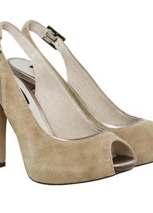 Замшевые туфли с открытым носком bronx