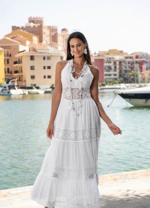 Новинка шикарное белое длинное платье с кружевом код 2404