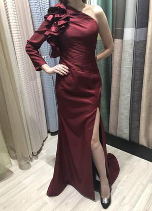 Платье вечернее/ платье на выпускной/ платье длинное бордовое с разрезом