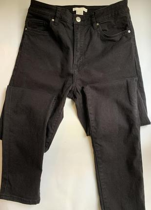 Базовые чёрные узкие котоновые штаны h&m