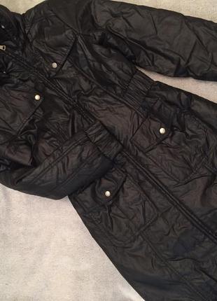 Черное полупальто, пальто с капюшоном на синтепоне демисезон (до -5)3