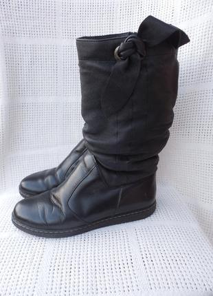 Сапоги ботинки кожа кожаные зимние зима на меху на широкую ногу стопу