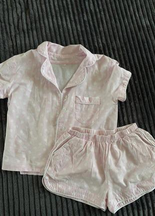 Пижама розовая в горошек
