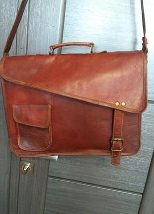 Мужская кожаная сумка-портфель