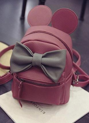 Рюкзак мини бордовый микки с ушками и серым бантиком