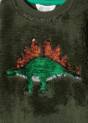 3 - 4 6 - 8 8 - 10 л фирменный новый топ кофта кофточка из плюша с пайетками динозавр3 фото