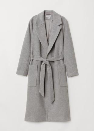 Шикарное шерстяное пальто супер качество с поясом на запах h&m