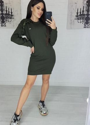 Платье idiali с рюшей хаки мод.475