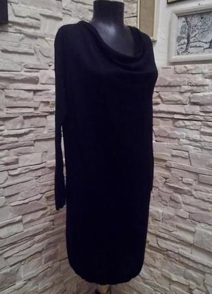 Стильное тёплое шерсть красивое чёрное платье шерстяное туника от in wear martinique