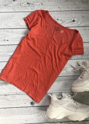 Футболка яркая оранжевая h&m базовая спортивная