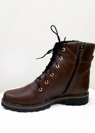 Демисезонные кожаные ботинки, коричневого цвета2