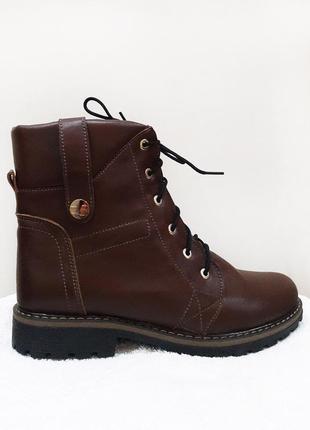 Демисезонные кожаные ботинки, коричневого цвета1