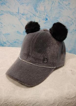 Бейсболка кепка бейсик шапка с помпонами