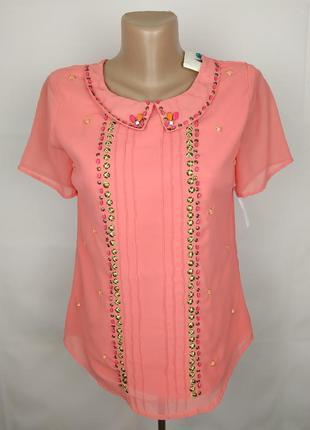 Блуза новая модная коралловая украшенная паетками uk 10/38/s