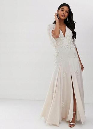 Asos кремова сукня розшита бісером та паєтками
