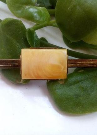 Зажим для галстука латунь, иммитация янтарь), винтаж, 60-70-е г. ссср