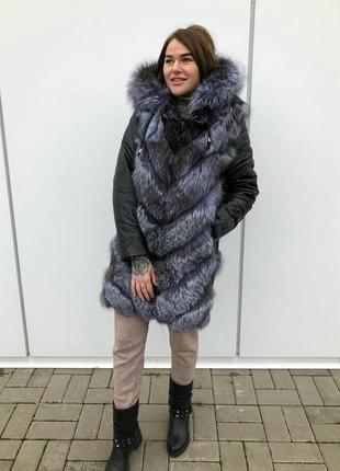 Куртка трансформер  мех чернобурка и кожа