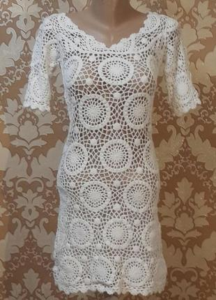 Ажурное платье ручной работы. размер s.
