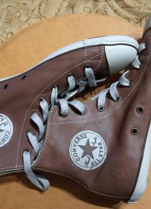 Кожаные, высокие , коричневые  кеды converse.