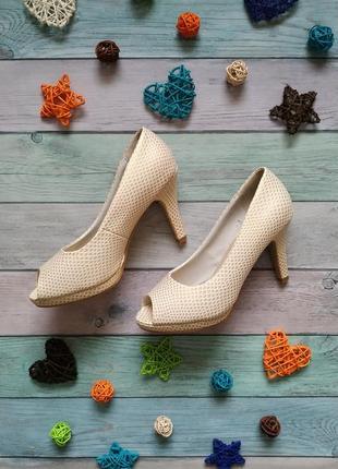 🍀 текстурные бежевые туфли с открытым носком 🍀