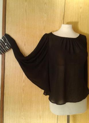 Черная шифоновая блузка с паетками на манжетах,s-м.