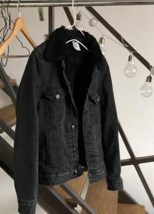Джинсовка джинсовая куртка на меху с мехом шерпа курточка zara