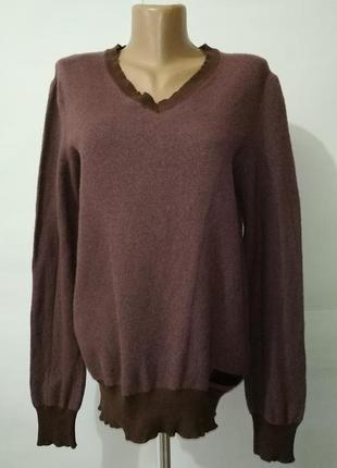 Шерстяной теплый свитер пуловер с v-образным вырезом diesel uk 14/42/l