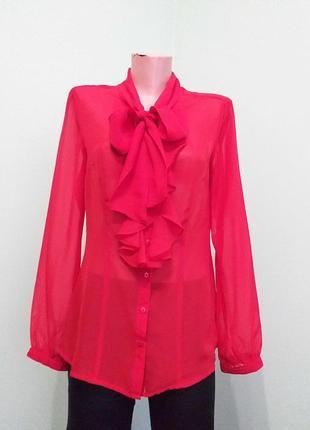 Ефектна червона блузка з жабо