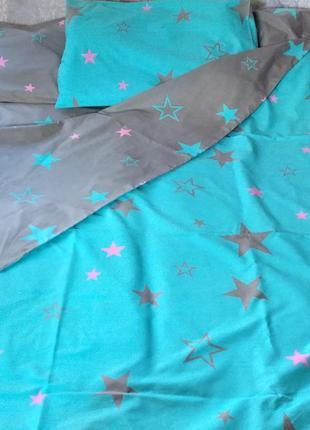 Полуторный постельный комплект из плотной пакистанской бязи gold - звезды