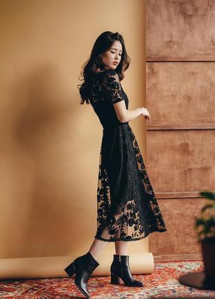 Шикарное нарядное платье миди цветочный принт