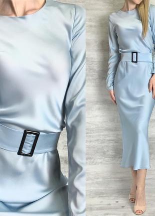Нежное миди платье под пояс из шелка армани нежно голубого цвета