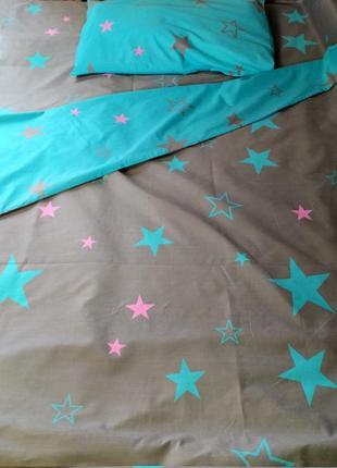 Двуспальный постельный комплект из плотной пакистанской бязи gold lux - звезды