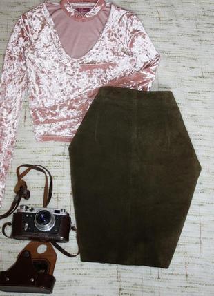 Актуальная замшевая юбка dimonti. юбка карандаш