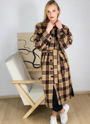 Большая распродажа пальто шерстяное в клетку в профиле много моделей