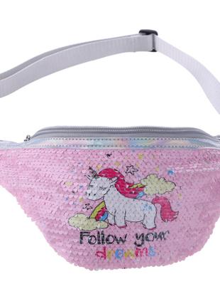 Детская сумка на пояс с единорогом, бананка сумочка единорог unicorn