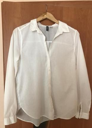 Рубашка белая h&m 100% хлопок