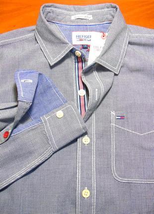 Hilfiger denim шикарная брендовая рубашка - m - s
