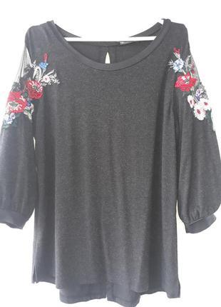 Блуза с вышивкой турция р.52 -541 фото