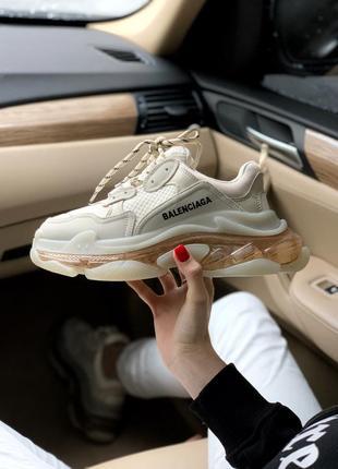 Balenciaga triple s transparent crystal шикарные женские кроссовки баленсиага