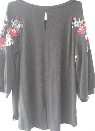 Блуза с вышивкой турция р.52 -543 фото