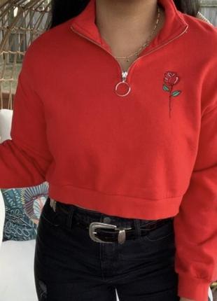 Оверсайз свитшот h&m с вышивкой и кольцом
