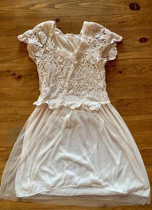 Очень нежное платье кружево шифон платье бежевое