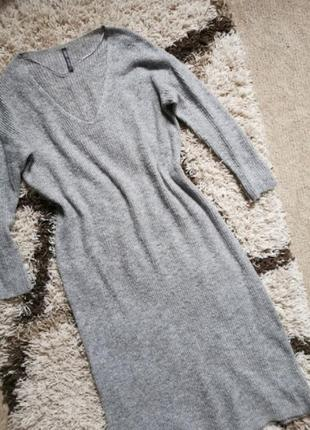 Платье макси длинное серое вязаное bershka