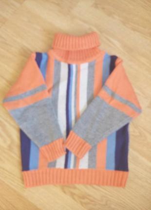 Теплый вязанный свитер под горло 3-4 года.унисекс.