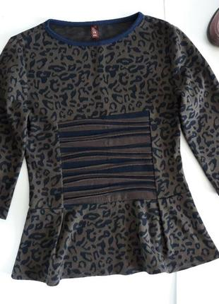 Кофта блуза с баской леопард solh