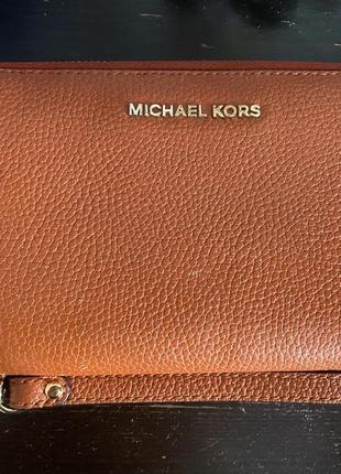 Оранжевый натуральный кожаный кошелёк от michael kors