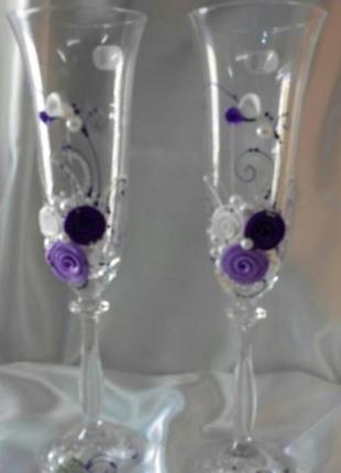 """Свадебные бокалы """"фиолетовый букет"""" (bohemia, чехия), 190 мл."""