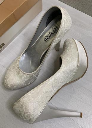 Гипюровые туфли, кремовые свадебные выпускные туфли, туфли на роспись, на свадьбу