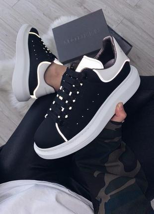 Alexander mcqueen low top black reflective шикарные женские кроссовки александр маквин